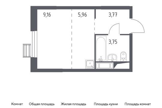 Студия, 22.64 м2, 3 этаж