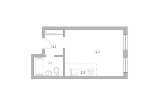 Студия, 23.4 м2, 1 этаж