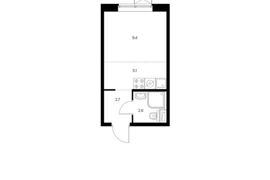Студия, 19.8 м2, 25 этаж