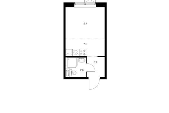 Студия, 19.8 м2, 22 этаж