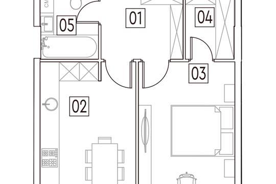 1-комн квартира, 43.2 м2, 2 этаж