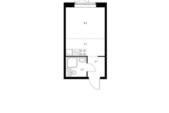 Студия, 19.7 м2, 18 этаж