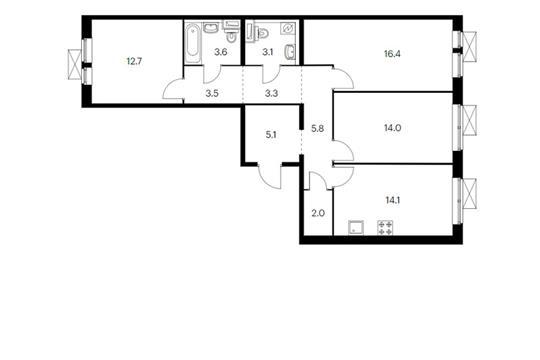 3-комн квартира, 83.6 м<sup>2</sup>, 9 этаж_1