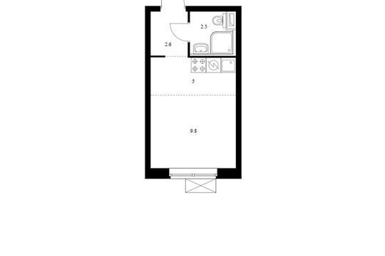Студия, 19.9 м2, 10 этаж