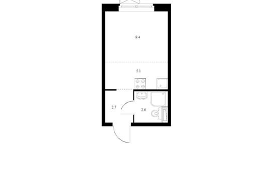 Студия, 19.8 м2, 19 этаж