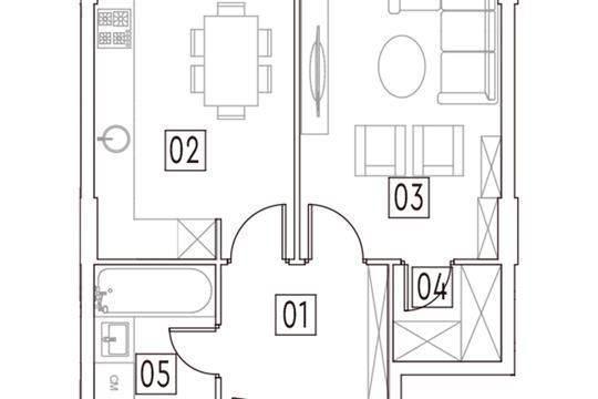 1-комн квартира, 42 м2, 1 этаж