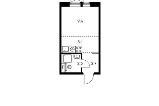 Студия, 19.8 м2, 23 этаж