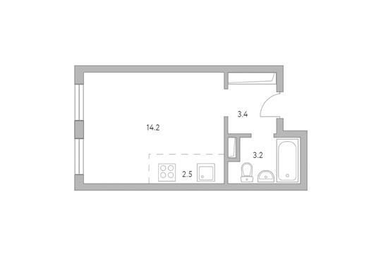 Студия, 23.3 м2, 2 этаж