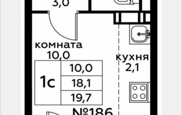 Студия, 19.7 м2, 9 этаж