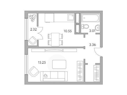 1-комн квартира, 36.55 м2, 4 этаж - фото 1