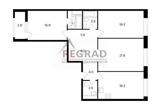3-комн квартира, 105 м2, 4 этаж