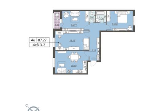 3-комн квартира, 87.3 м2, 2 этаж
