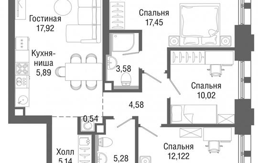 3-комн квартира, 82 м2, 31 этаж