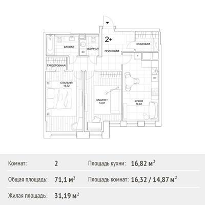 2-комн квартира, 71.1 м2, 29 этаж - фото 1