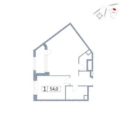 1-комн квартира, 54 м2, 2 этаж - фото 1