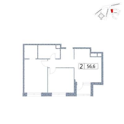 2-комн квартира, 56.6 м2, 2 этаж - фото 1