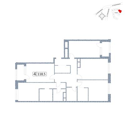 4-комн квартира, 118.5 м2, 16 этаж - фото 1