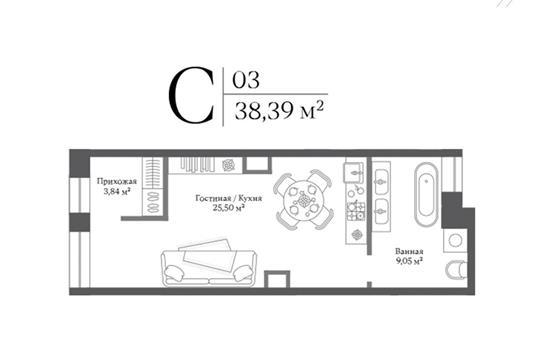 Студия, 38.39 м2, 1 этаж