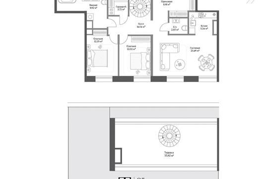 2-комн квартира, 91.99 м2, 3 этаж