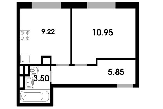 1-комн квартира, 29.15 м2, 4 этаж
