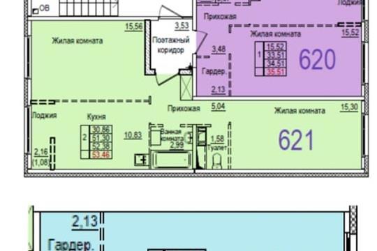 1-комн квартира, 35.5 м2, 3 этаж