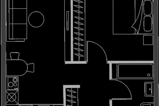 1-комн квартира, 39.4 м2, 20 этаж
