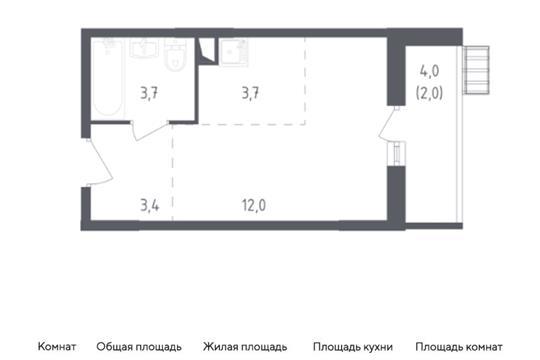 Студия, 24.8 м2, 6 этаж