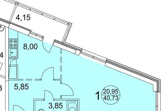 1-комн квартира, 43 м<sup>2</sup>, 13 этаж_1