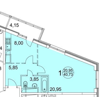 1-комн квартира, 43 м2, 13 этаж - фото 1