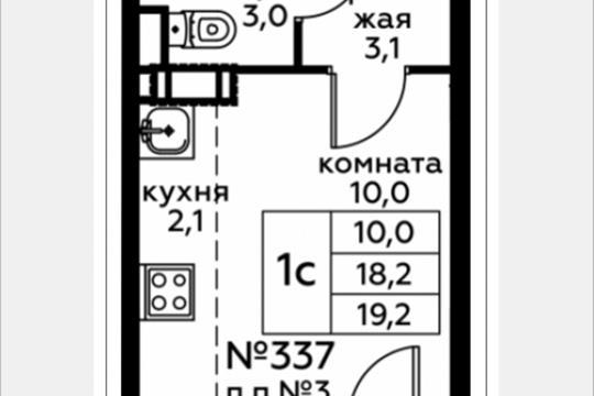 Студия, 19.2 м2, 5 этаж