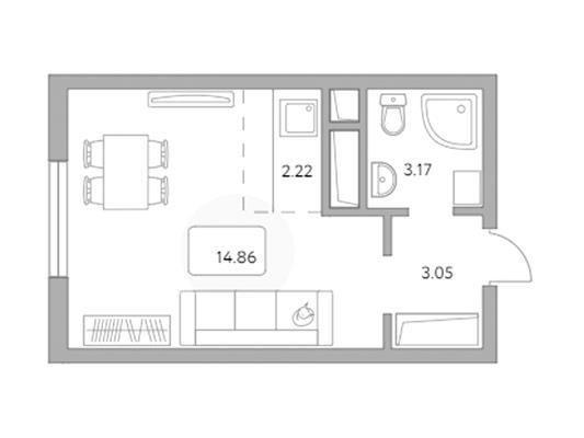 Студия, 23.3 м2, 19 этаж - фото 1