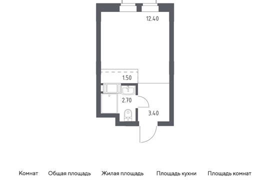 Студия, 20 м2, 15 этаж