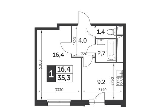 1-комн квартира, 35.3 м2, 15 этаж