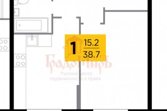 1-комн квартира, 38.7 м2, 1 этаж