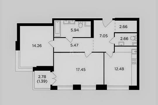2-комн квартира, 69.36 м2, 2 этаж