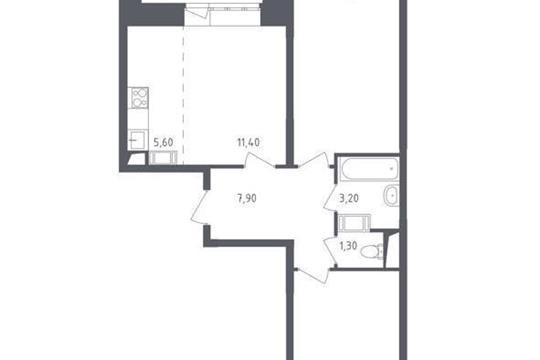 2-комн квартира, 61 м2, 17 этаж