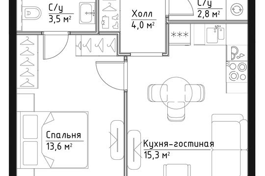 1-комн квартира, 39.2 м2, 13 этаж