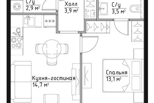1-комн квартира, 38.1 м2, 22 этаж