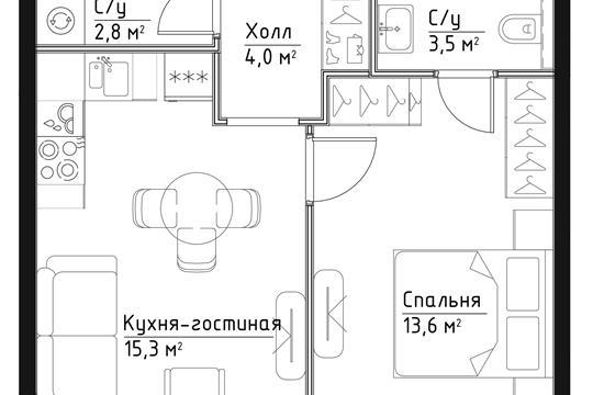1-комн квартира, 39.2 м2, 18 этаж