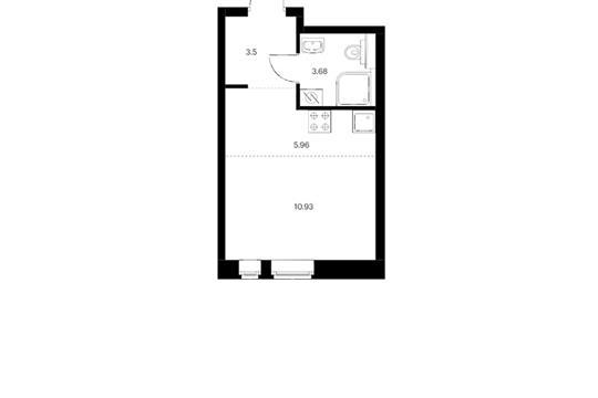 Студия, 24.07 м2, 4 этаж