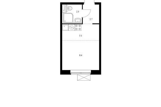 Студия, 19.7 м2, 8 этаж