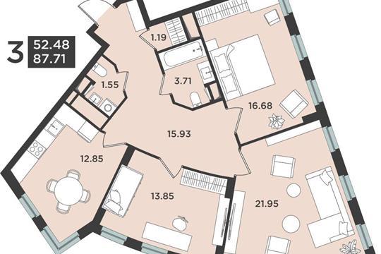 3-комн квартира, 87.71 м2, 7 этаж