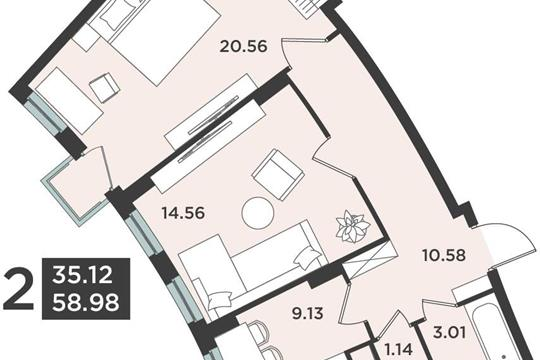 2-комн квартира, 58.98 м2, 4 этаж
