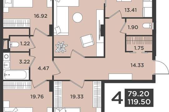 4-комн квартира, 119.5 м2, 5 этаж