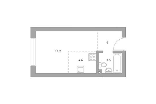 Студия, 25.9 м2, 4 этаж