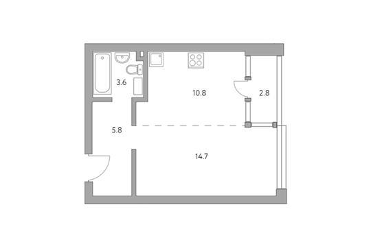 1-комн квартира, 37.7 м2, 23 этаж