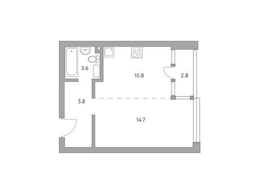 1-комн квартира, 37.7 м2, 23 этаж - фото 1