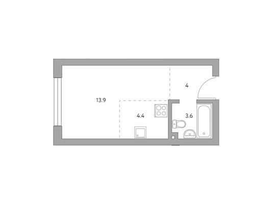 Студия, 25.9 м2, 25 этаж - фото 1