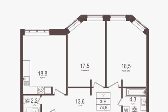 2-комн квартира, 70.1 м2, 23 этаж