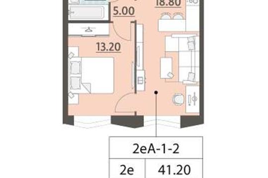 1-комн квартира, 41.2 м<sup>2</sup>, 2 этаж_1